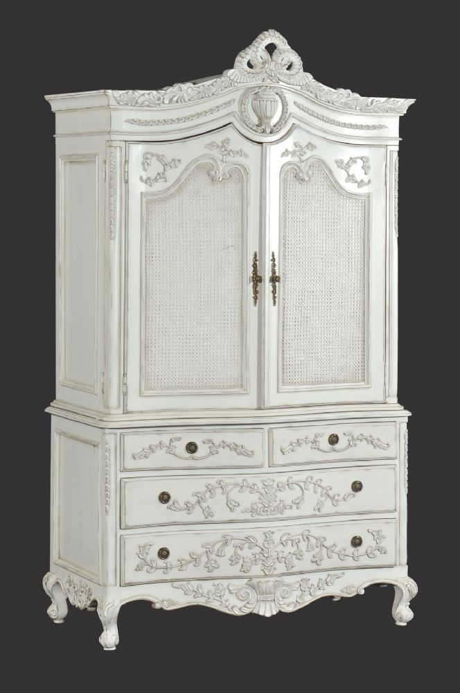 Rattan Linen Press Cabinet Wardrobe In Distressed White